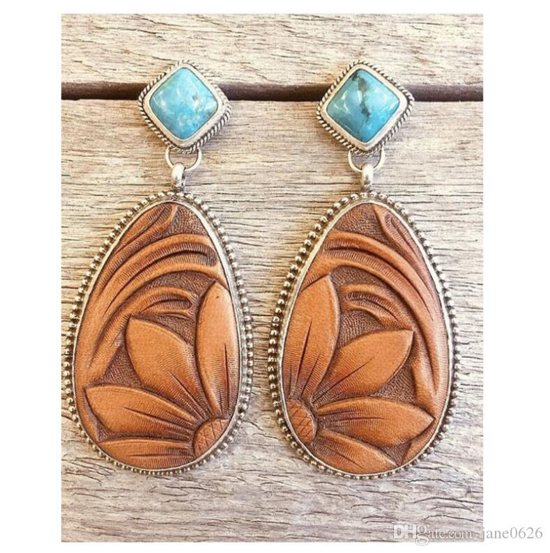 New Silver Turquoise Earrings Plated with Retro Tai Silver European and American fashionable Brown sunflower eardrop jewelry