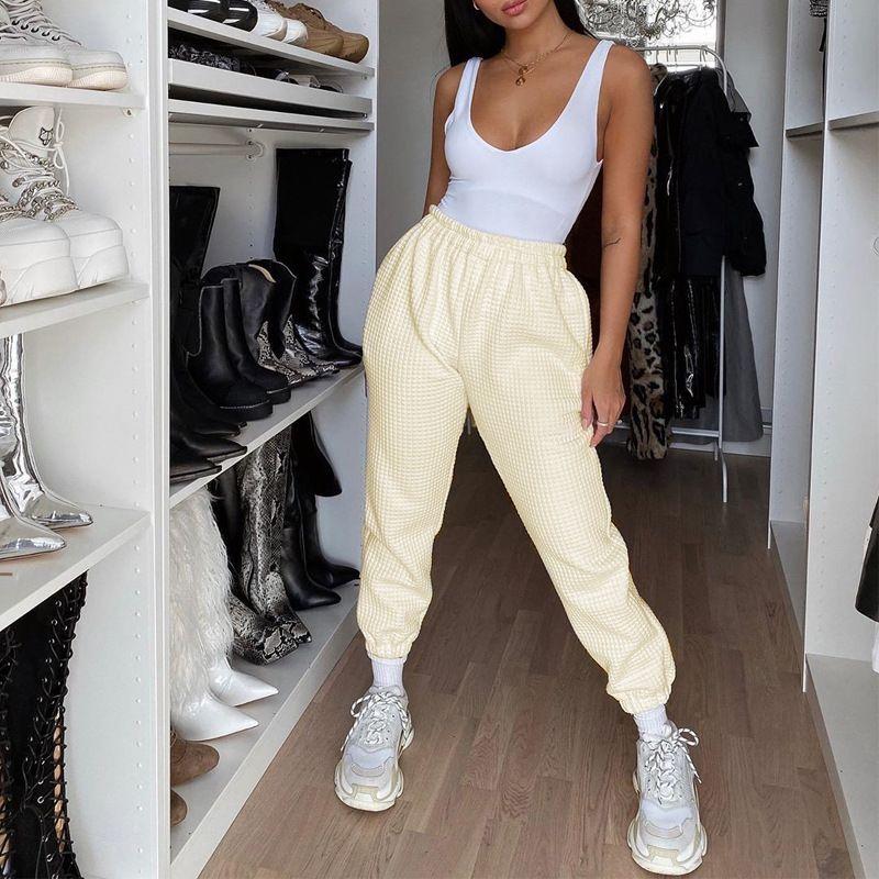 Kadınlar Kaymaklı Bej Beyaz Moda Çorap Örgü Makinesi Walf Çekler koşucu Pantolon ve Crop için Ins Blogger Stili Sweatpants Kadınlar 2 Adet Set Tops