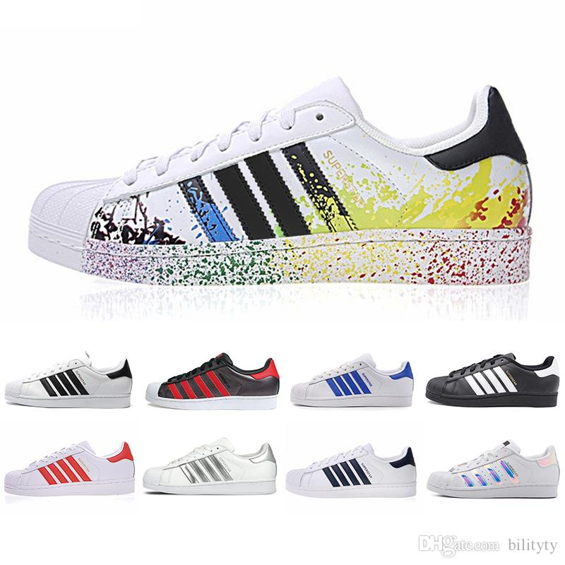Adidas US5-11 Superstar en cuir blanc, blanc, blanc, rose, bleu, or, Superstars, Pride Sneakers des années 80, Super Star, femmes, sport, chaussures de sport