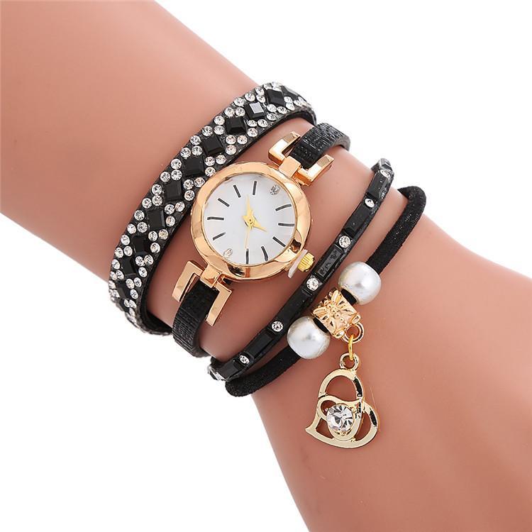 2020 Liebesherzform Diamant Frauen Damen Kleid Lederarmband Uhren Großhandel Freizeit beiläufige weibliche Geschenk Uhren