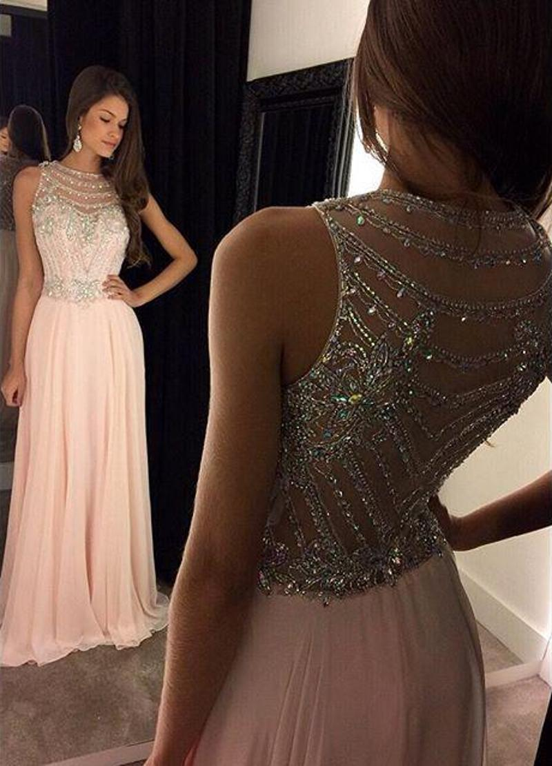 Sexy Pink Chiffon Prom Dresses Long Party Dress A Line Jewel Sweep Train Sequins Beaded Sheer Neck Evening Gowns Scoop Party Dresses