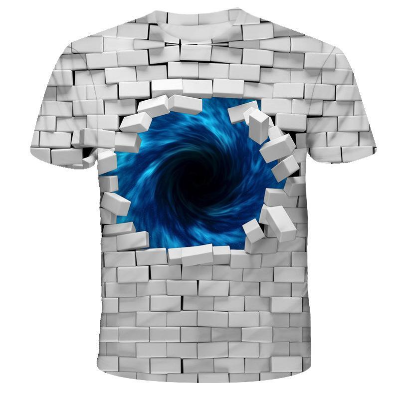Neue Art und Weise Street T Drucken Shirt Männer 3D Cartoon Vortex Short Sleeve Hip Hop Lustige T-Shirts