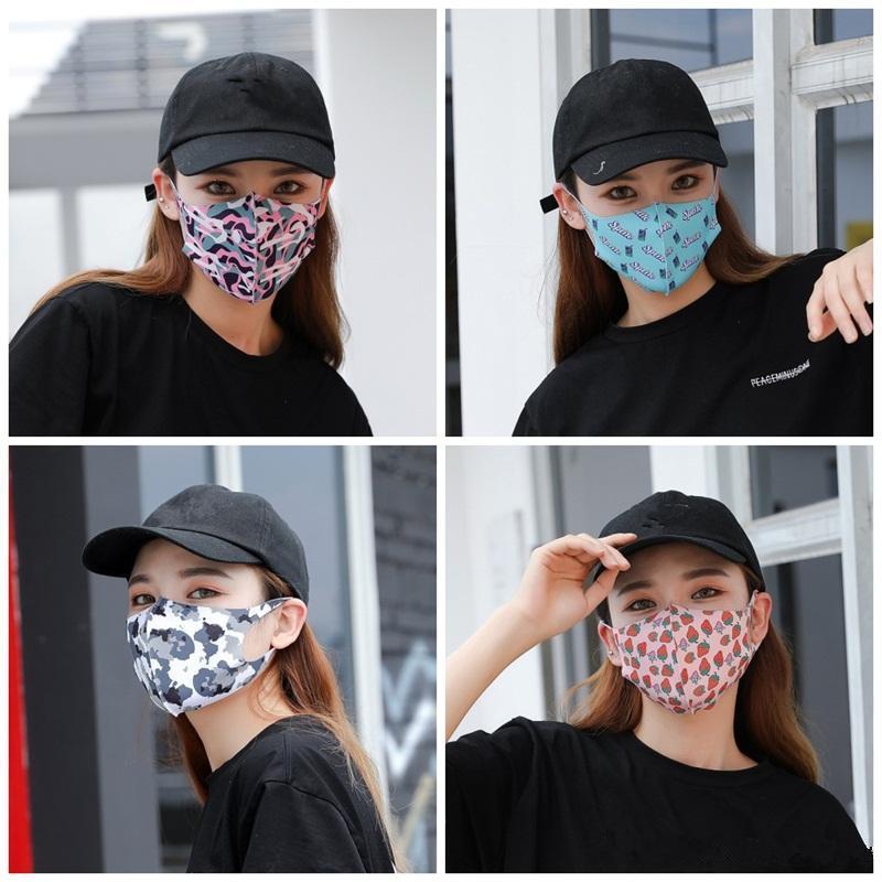 Мода взрослых маска для лица Mascherine Клубника цветок Напитки Печать пыли Рот маска Маски Anti UV Защитный Лето Весна Face