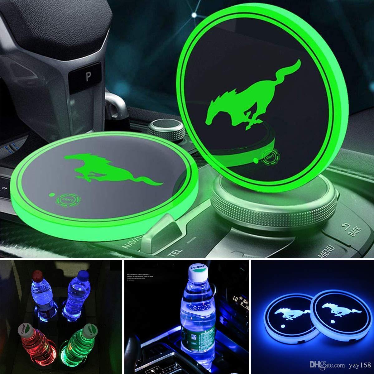 LED كأس أضواء السيارات حامل، 7 ألوان تغيير USB شحن حصيرة الفلورسنت كأس الوسادة، LED الداخلية الغلاف الجوي مصباح لل2PCS (الفرس-2)