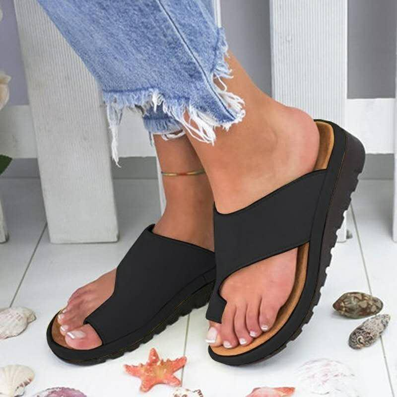 Sandálias Das Mulheres de verão Confortável Plataforma Sola Plana Senhoras Casual Suave Correção Sandália Ortopédica Joanete Corrector Sapatos Mulher T8190701