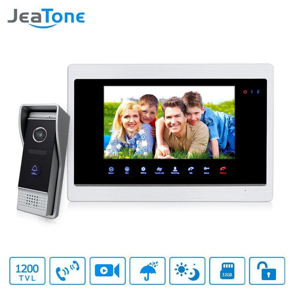 """JeaTone 7 """" dokunmatik Panel Monitör Video diyafon Anahtarcı, izleme, fotoğraf çekmek Interkom HD 1200tvl kapı zili açık paneli"""