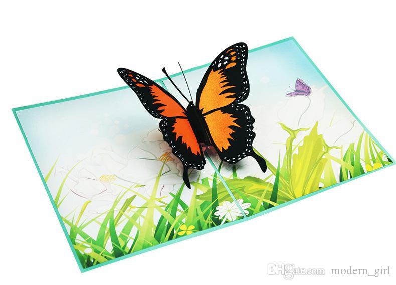 2019 Handicraft 3D Pop Up Butterfly Wedding Invitation Greeting Cards Birthday Valentine Mother Day Christmas Invitation Card