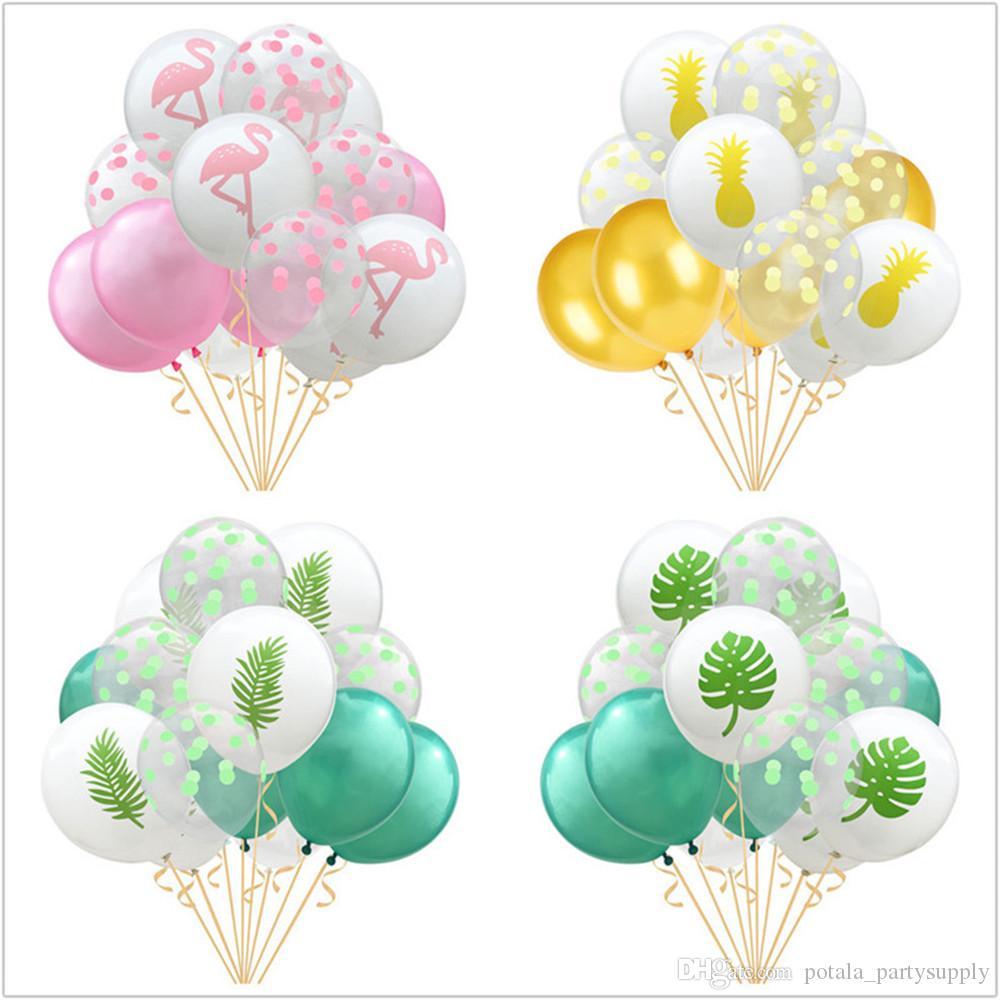 12 '' Flamingo abacaxi Latex Summer Party Balloon Suprimentos folhas de palmeira havaiana aniversário da selva do tema da praia Bolas de casamento Decoração do partido