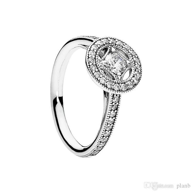 Klare CZ Diamant Vintage Allure Ringe Set Original Box für Pandora 925 Sterling Silber Luxus Designer Schmuck Frauen Ring