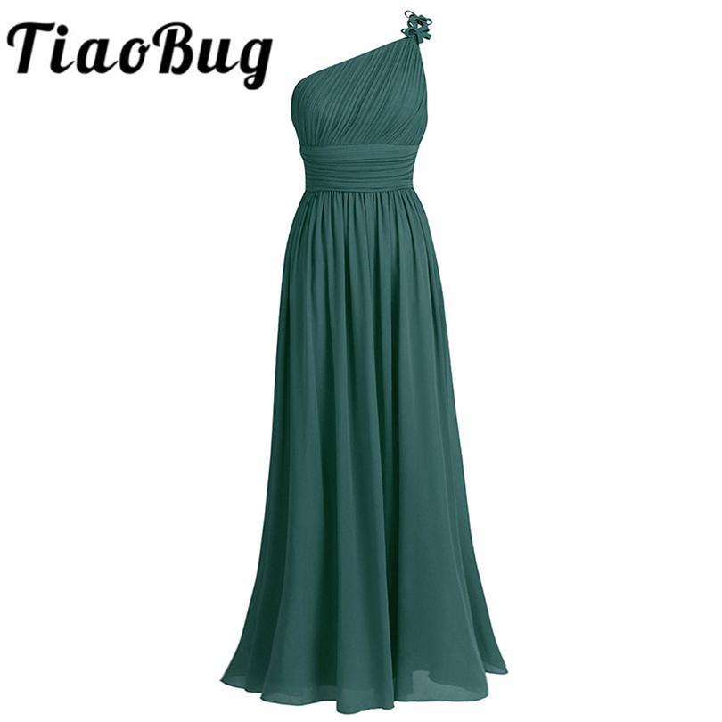 TiaoBug une épaule robe de demoiselle d'été en mousseline de soie de mariage de plage Robes de bal Party longue de demoiselle d'honneur Maxi Tulle Dentelle Robes Y200109