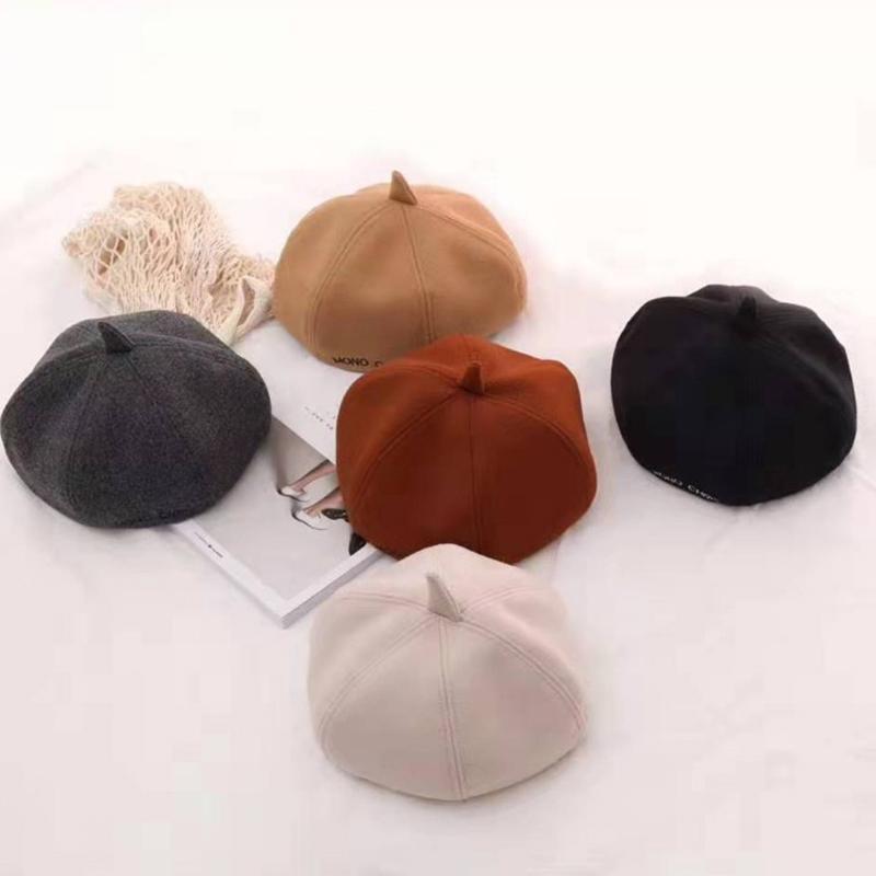 Boinas de lana gorro de lana caliente mujeres sombrero Gorros caliente de los sombreros de las mujeres ocasionales adulta sólida cubierta de la cabeza de calabaza sombreros
