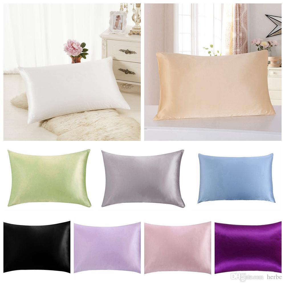 Luxury Solid mulberry Silk Pillow Cases Double Face Envelope Silk Pillowcase Charmeuse Silk Satin Pillow Cover 14 Colors AAA847 p