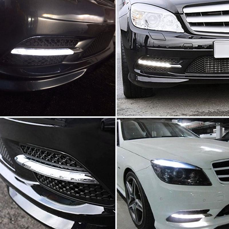 Left and Right LED DRL Daytime Running Light Lamp with Chrome Trim Compatible with 2008 2009 2010 2011 Mercedes W204 Sport//AMG Sport