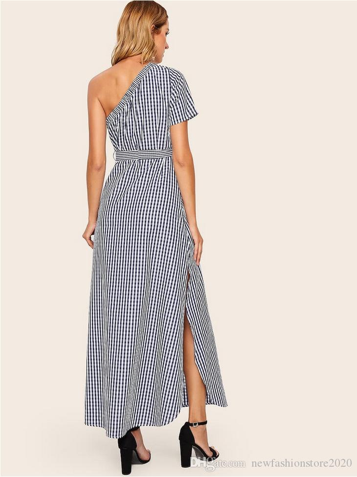 Women Designer Dress Fashionable Inclined Shoulder One Word Led Lattice Lace-up Long Dress Plaid Pattern ALL Matching Wholesale