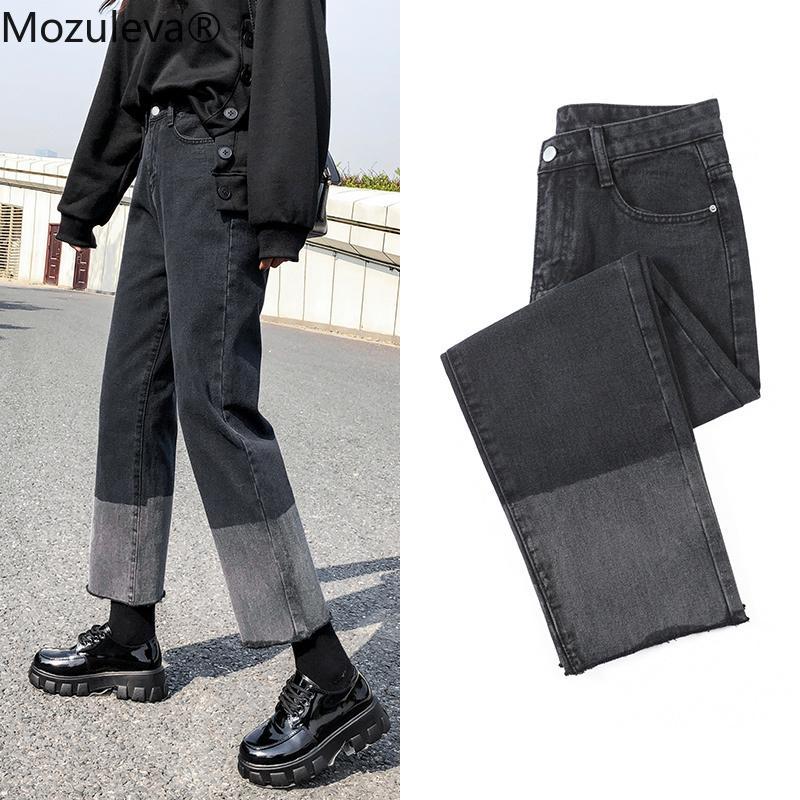 Mozuleva de cintura alta Jeans Mujeres Spring bolsillos de remiendo de Corea pantalones de mezclilla Mujer Pantalón de pierna ancha de las señoras de los pantalones vaqueros 2020 del tamaño extra grande