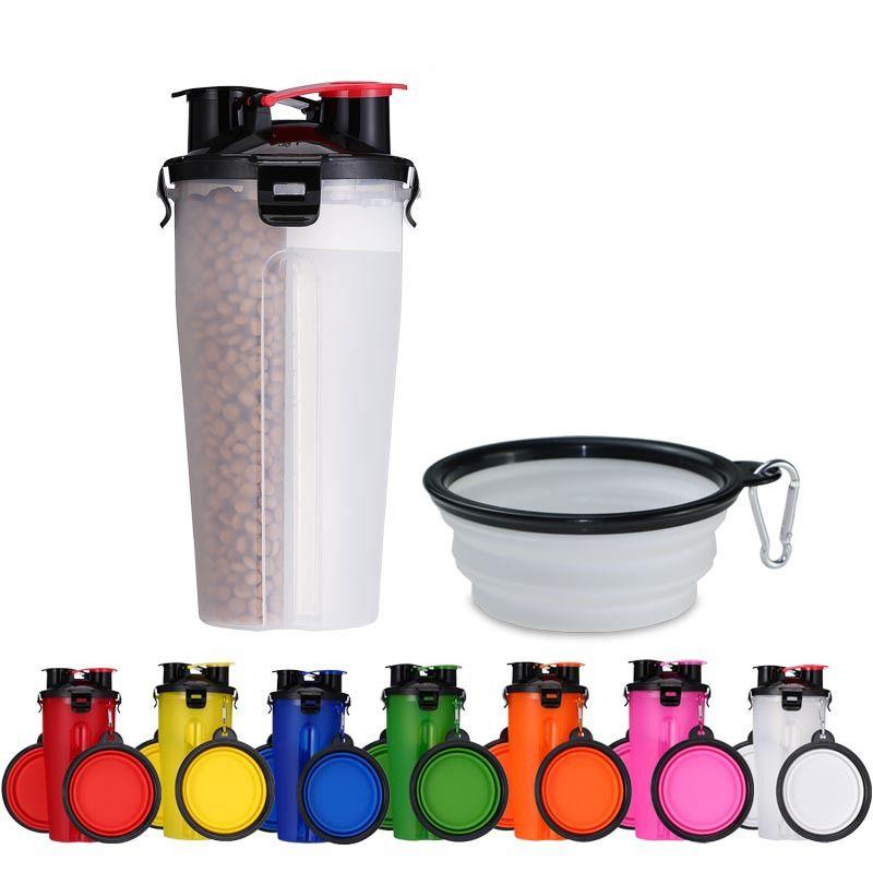 2 в 1 пластиковый складной кубок еды кишечника Pet открытый чайник многофункциональный портативный чашки воды любимчика с мисками GGA2101