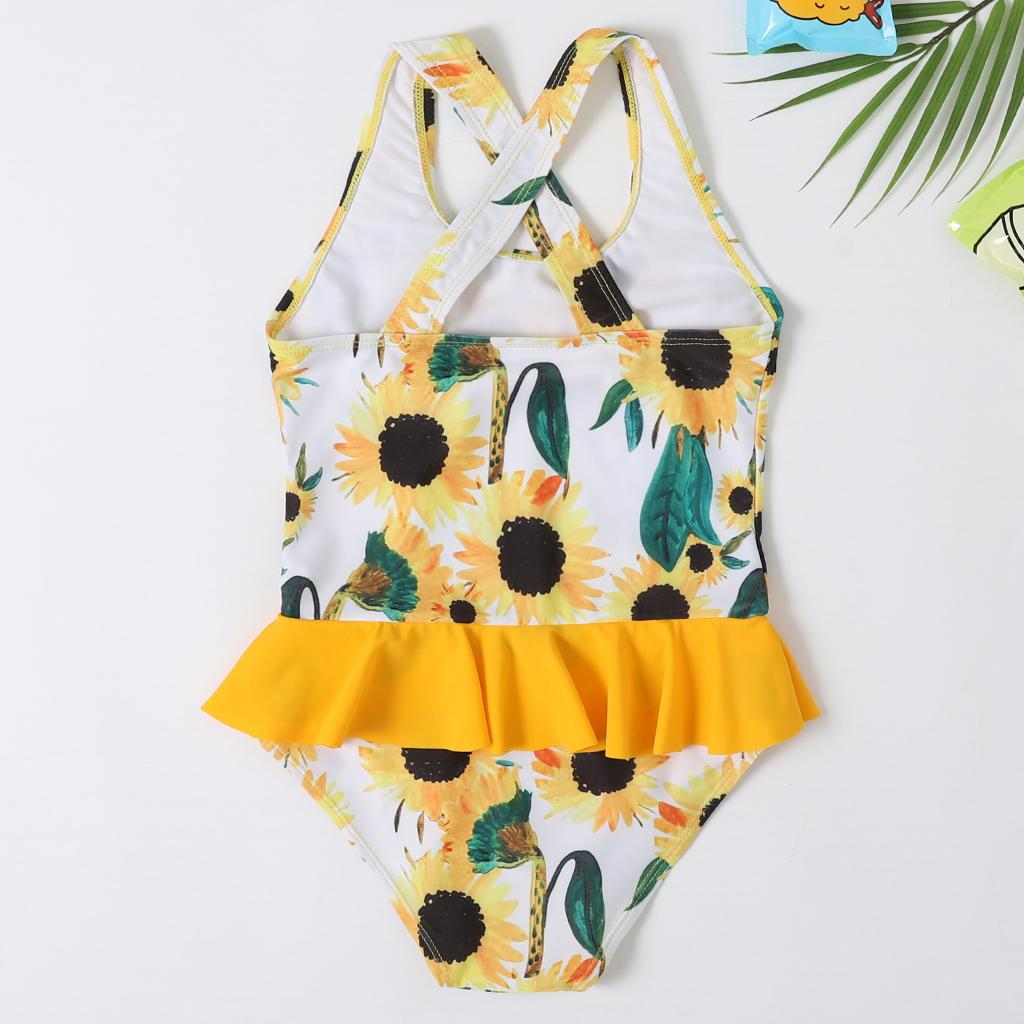New Beachwear Mum and Me Swimwear One Piece Big Flounce Monokini Yellow Swimsuit Family Girl and Women Flower Bathingsuit