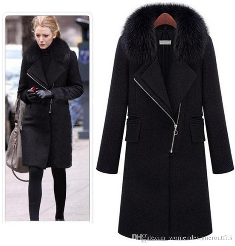 Kürk Moda Bayan Kalın Yün Palto Giyim ile Kış Bayan Tasarımcı Karışımları Siyah Yaka Boyun Dış Giyim