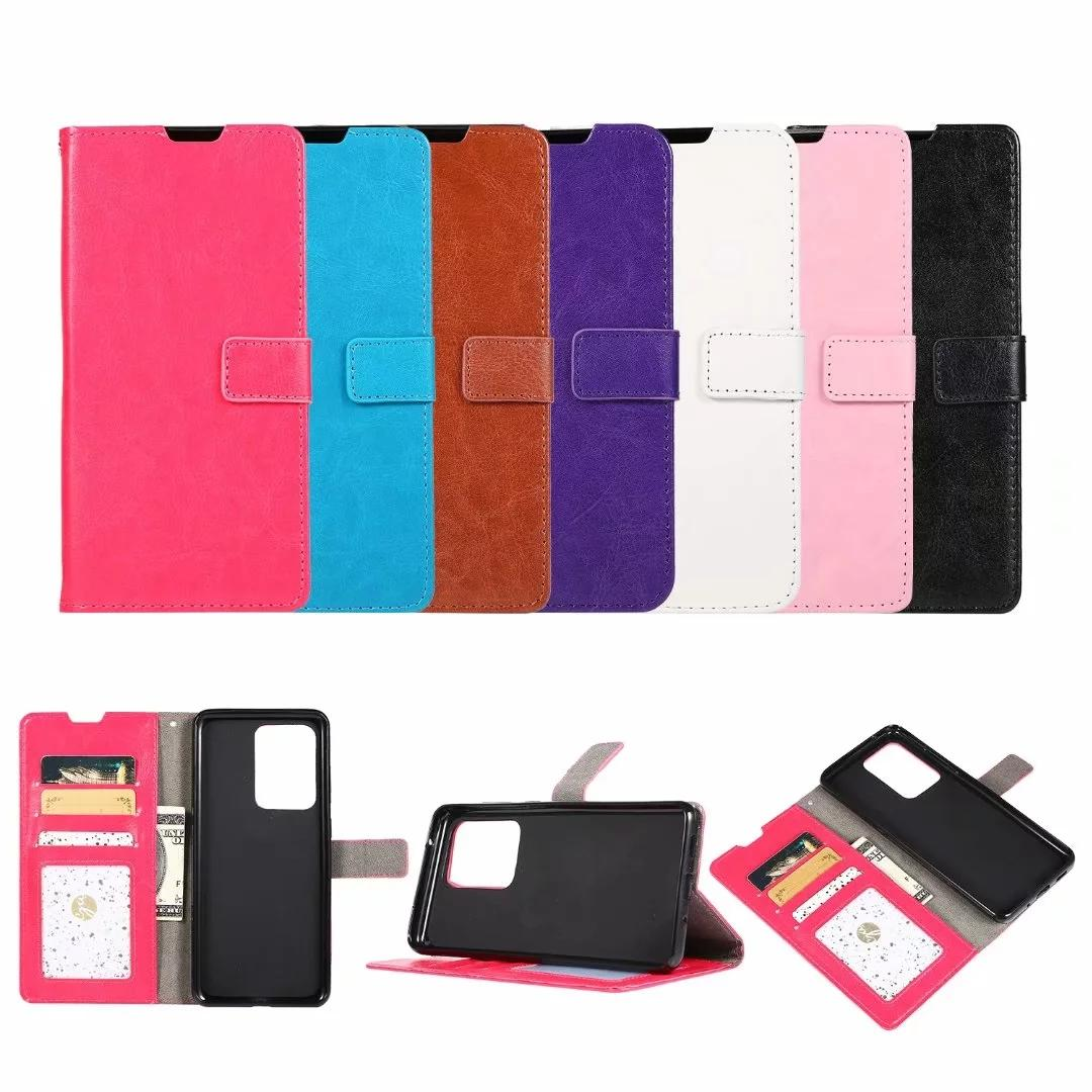 Leather Wallet Case For Samsung Galaxy S20 Plus S20 Ultra Crazy Horse Card ID Slot Pocket Holder Stand Fashion Cell Phone Purse Pouch