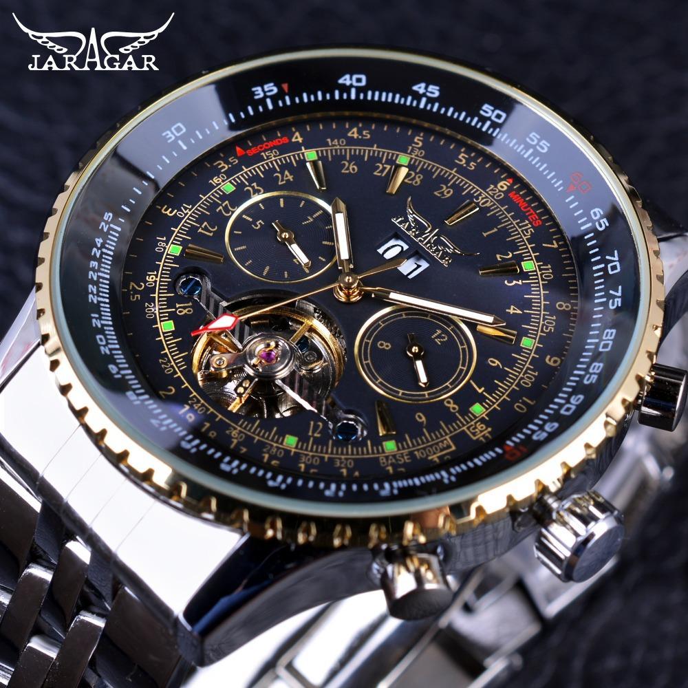 Jaragar 2017 Series Voar moldura Escala de Ouro Dial Design de aço inoxidável Mens Watch Top Marca Relógio Mecânico Automático