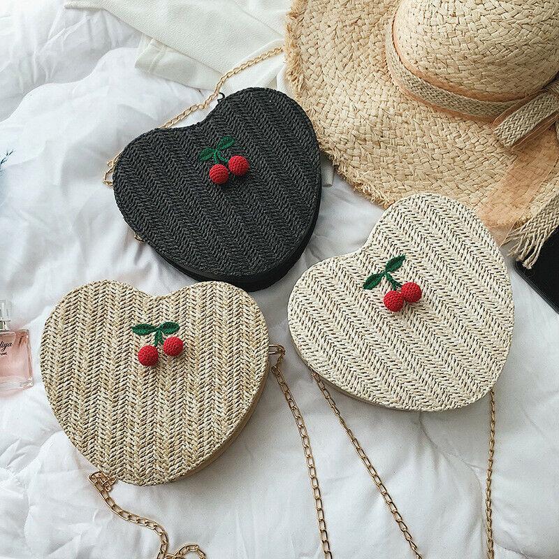 bolsa de paja bolsa de playa de moda en forma de corazón de las mujeres del verano tejidas hechas a mano de la cadena hombro Mensajero de ratán
