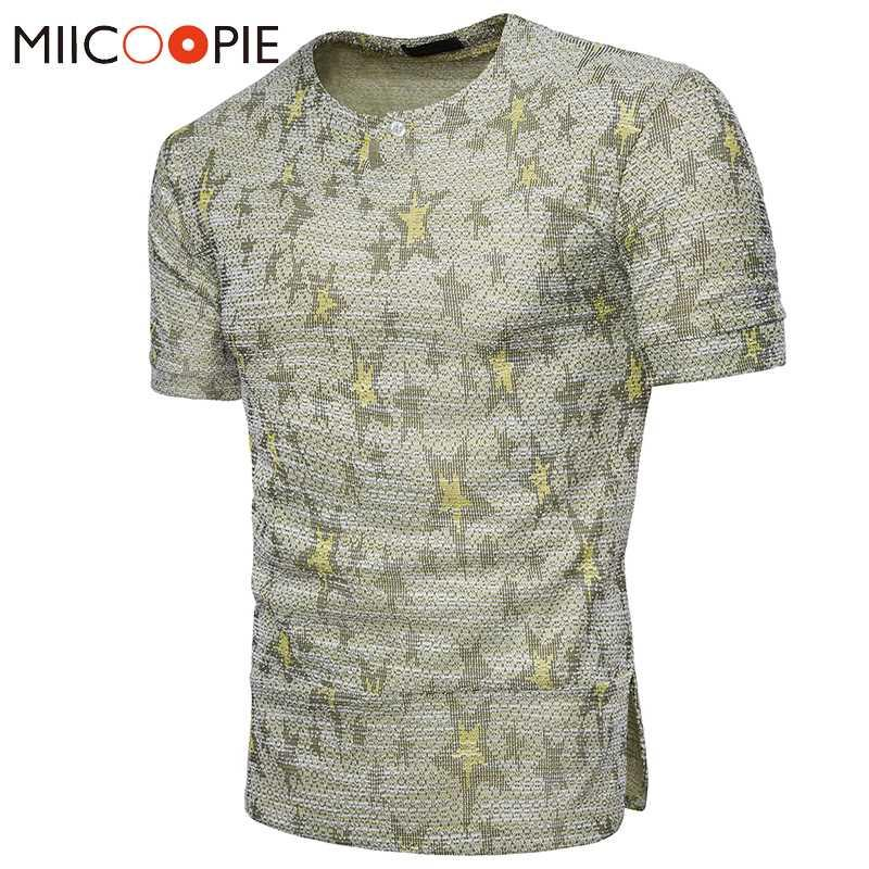 Новая мода Мужчины Звезды Футболка Tops лета вскользь тонкой короткий рукав мужской бренд одежды O-образным вырезом Мужской Printed футболках S-XXL