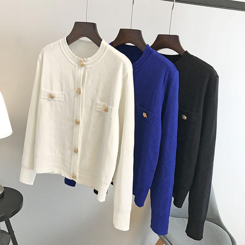 N14 2019 белый / черный / синий сплошной цвет трикотажные карманы кнопки кардиганы свитер с длинным рукавом круглый вырез Модные свитера OS19SPRCAR117W