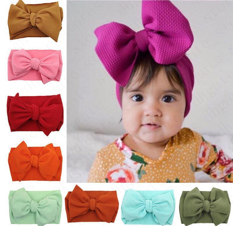 Дети ребёнки Большой Bowknot Широкий эластичный держатель диапазона волос Обертывания 30 ЦВЕТА INS Младенец Новорожденных Hairbands hairwraps Head Wrap Тюрбан D61005