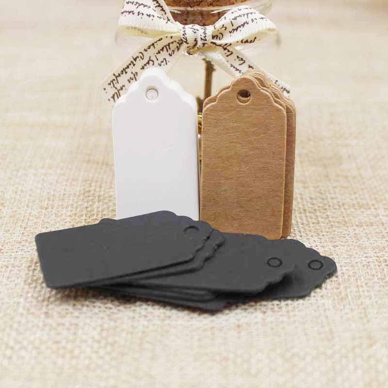 포장 레이블 100pcs 브라운 Kraft / white / black 종이 hangTags DIY 음식 레이블 결혼 선물 태그 2 * 4cm 장식 선물