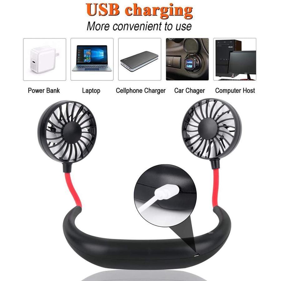 Free Hand Sports Fan portátil recargable USB Dual Mini refrigerador de aire de Verano colgante del cuello favor de partido del ventilador del transporte marítimo de OOA8109