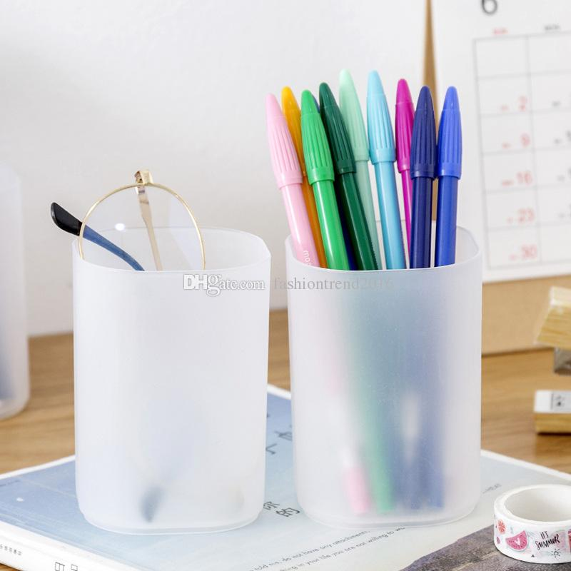 Frosted Clear Plastic Pencil Pot Holder Cylinder Office Stationery Storage Box Lipstick Cosmetic Brush Makeup Tool Organizer