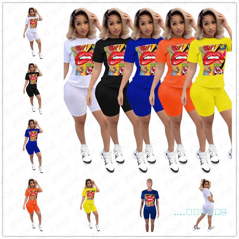 2020 лето Женщины двухкусочный Outfit Luxury LIP Печать Tracksuit мультфильм майка + шорты Biker Спортивный костюм Повседневный Мода Streetwear D5705