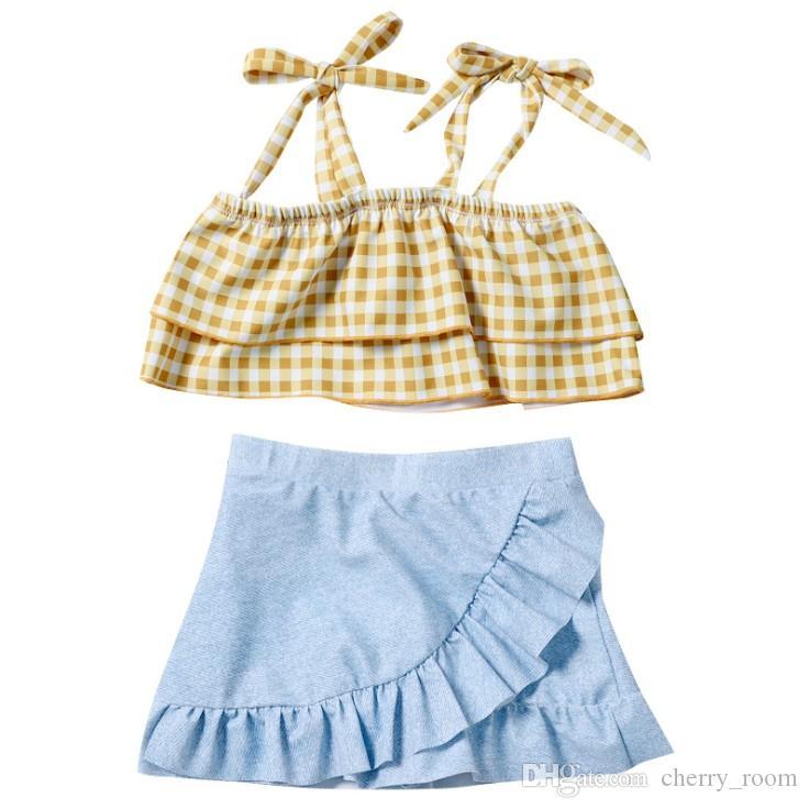 New Children Swimwear Summer Kids Girls Plaid Bow Suspender Split Style swimsuit Fashion Children spa beach bathing suit Y2377