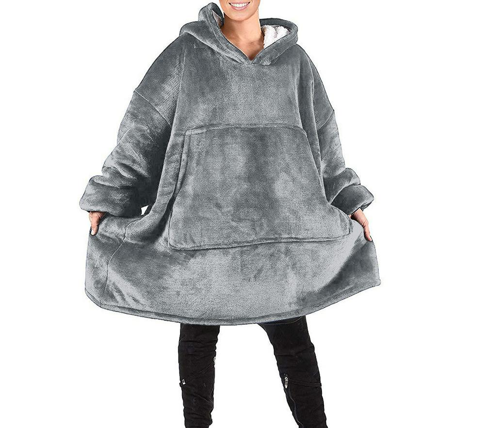Coperta in pile oversize con cappuccio da donna con maniche caldo Donne Felpe con cappuccio Felpe Giant tv Coperta Hoody Robe Casaco Feminino