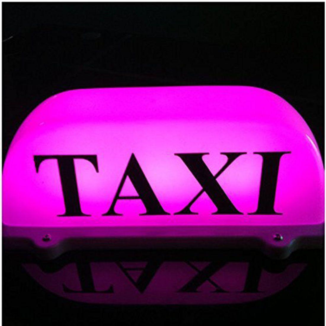 12V ABS impermeable de color púrpura claro con base magnética con lámpara TAXI de línea eléctrica de 3 metros