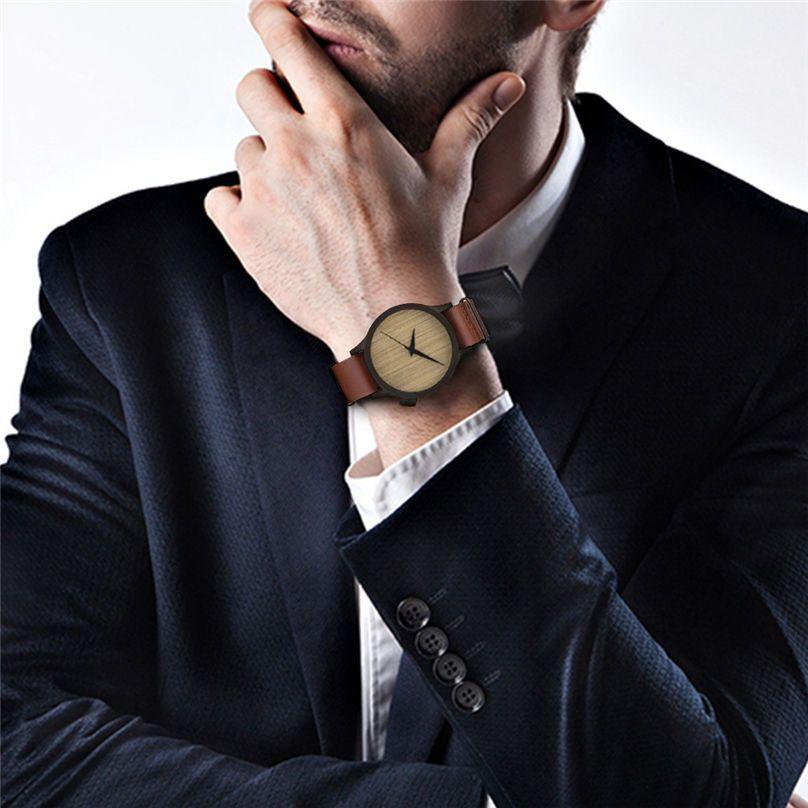 Новая повседневная мода деревянные часы мужские и женские часы бамбуковые мужские кожаные часы 3N25