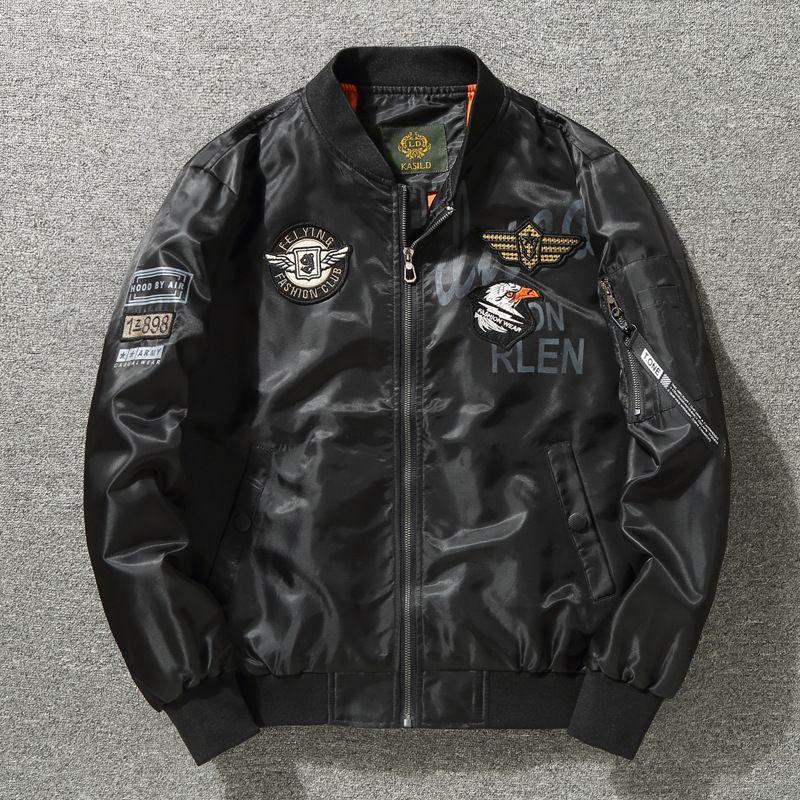 Ejército de EE.UU. Bandera Bombardero MA1 chaquetas de los hombres de los ángeles azules tigres del vuelo de la Fuerza Aérea Piloto Coats rompevientos Hombres de Hip Hop de tela Dropshipping