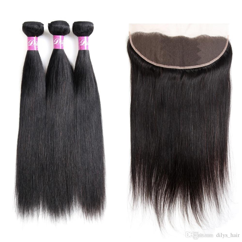 Dilys بيرو الهندي الماليزي 9a العذراء الشعر البشري مستقيم 3 حزم الشعر مع 13x4 الأذن إلى الأذن إغلاق الشعر اللون الطبيعي