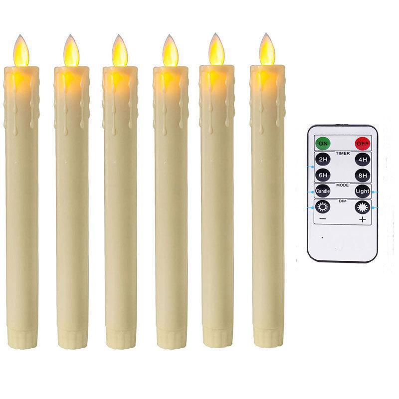 Remote And Timer, Pack of 6 Amber Dancing Led Flameless Candles,Red Plastic Battery Candles Moving Wick Taper Christmas Candles Y200109