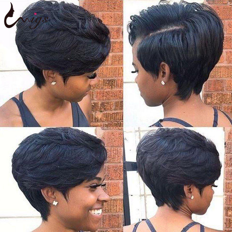 Piexie Kesim Peruk Kısa Düz Bob Peruk İnsan Saç Peruk Brezilyalı Remy Saç Peruk İçin Siyah Kadınlar Düz Pixie Cut Bob Peruk