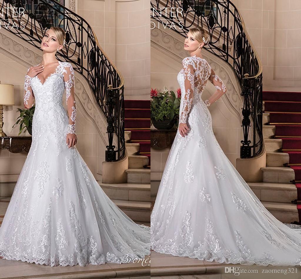2019 Vestidos de Noiva pleine dentelle sirène robes de mariée V Traîne Long Neck manches Illusion de plage Robes de mariée sur mesure robe de mariée
