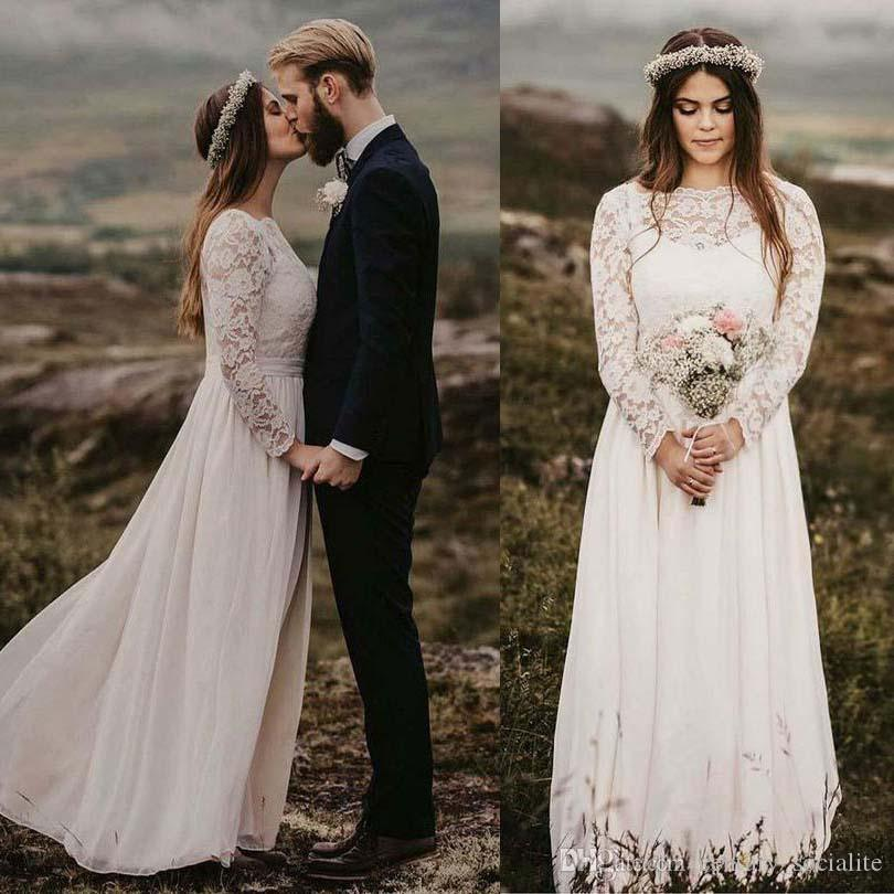 Discount Long Sleeves Bohemian Wedding Dresses Plus Size Chiffon Floor  Length Covered Button Boho Bridal Gowns Custom Made Robe De Mariée Wedding  ...