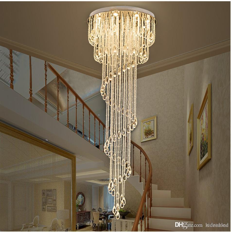 Lampadari moderni goccia di pioggia Chiaro lampadario di cristallo di illuminazione scala a chiocciola per l'illuminazione in acciaio Hotel Villa Sala Villa Duplex scala in acciaio