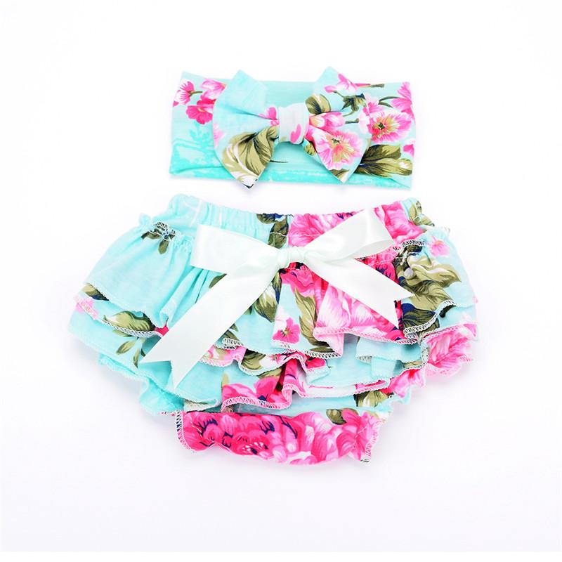 New 11 beautiful color baby girl shorts Cute baby fuffle bloomers cover diaper comfortable cotton baby diapers + headband
