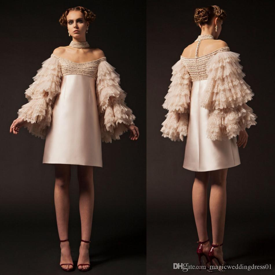 Krikor Jabotian Short Prom Dresses Off The Shoulder Knee Length Long Sleeve Cocktail Party Gowns Tiered Lace Beads Evening Gowns 2020 Cheap
