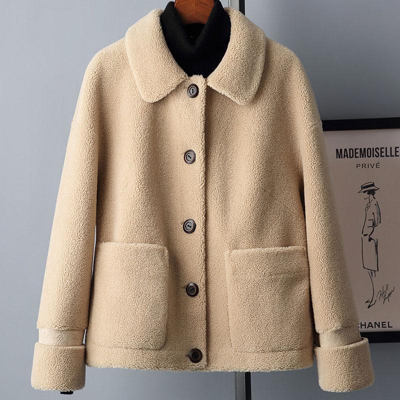 2019 Inverno real Composite Cordeiro casaco de pele Mulheres Shearling Genuine Brasão com Faux Suede Liner couro A127 Lã Fur