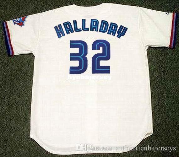 Pas cher sur mesure Roy Halladay Toronto Cousu 1999 Majestic Vintage Accueil Baseball Jersey Retro Maillots Hommes course