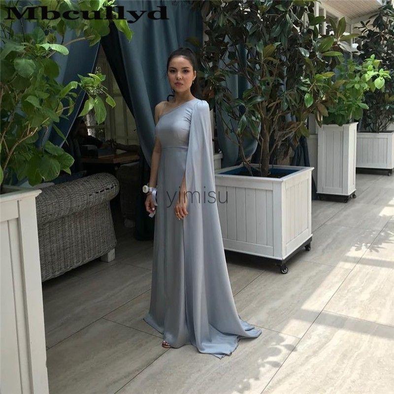 Argent une épaule robes de bal en mousseline de soie balayage train longue Soirée formelle Robes occasion spéciale robes robe de soirée pas cher Plus Size