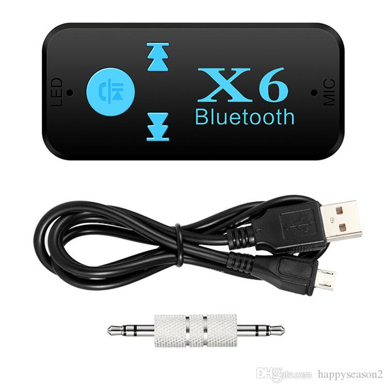 X6 بلوتوث اللاسلكية V 4.2 المتلقي محول AUX الصوت ستيريو الموسيقى لبطاقة TF الرئيسية رئيس الهاتف المحمول سيارة حزمة البيع بالتجزئة