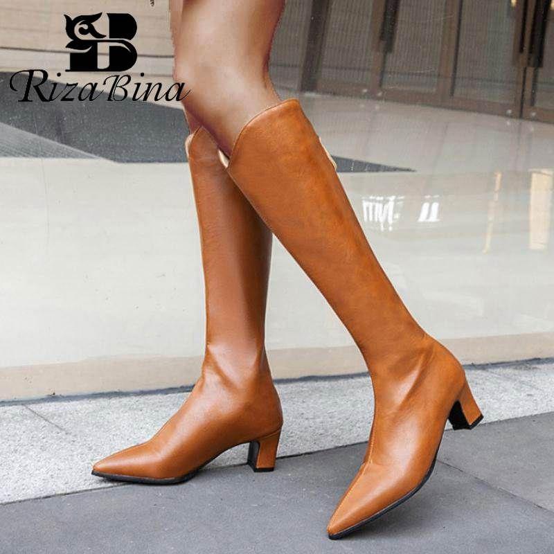RIZABINA Inoltre 28-48 donne stivali alti al ginocchio punta aguzza sexy Ufficio Tacchi alti invernali Scarpe Donna partito casuale Calzature stivali lunghi